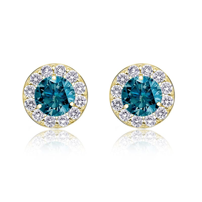 Blue 1ct. t.w. Diamond Halo Stud Earrings in 14k Yellow Gold