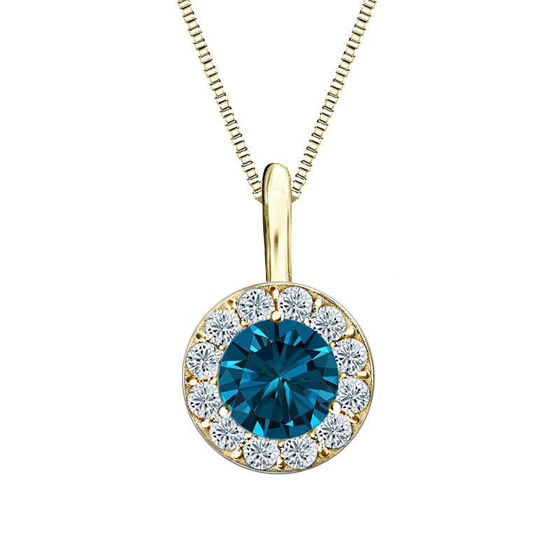Blue Diamond & White Diamond Halo ½ct. Pendant in 14k Yellow Gold