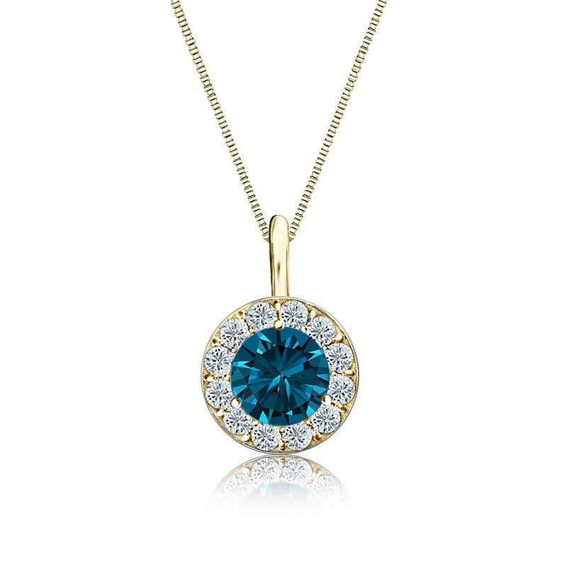 Blue & White Diamond Halo ¾ct. Pendant in 14k Yellow Gold