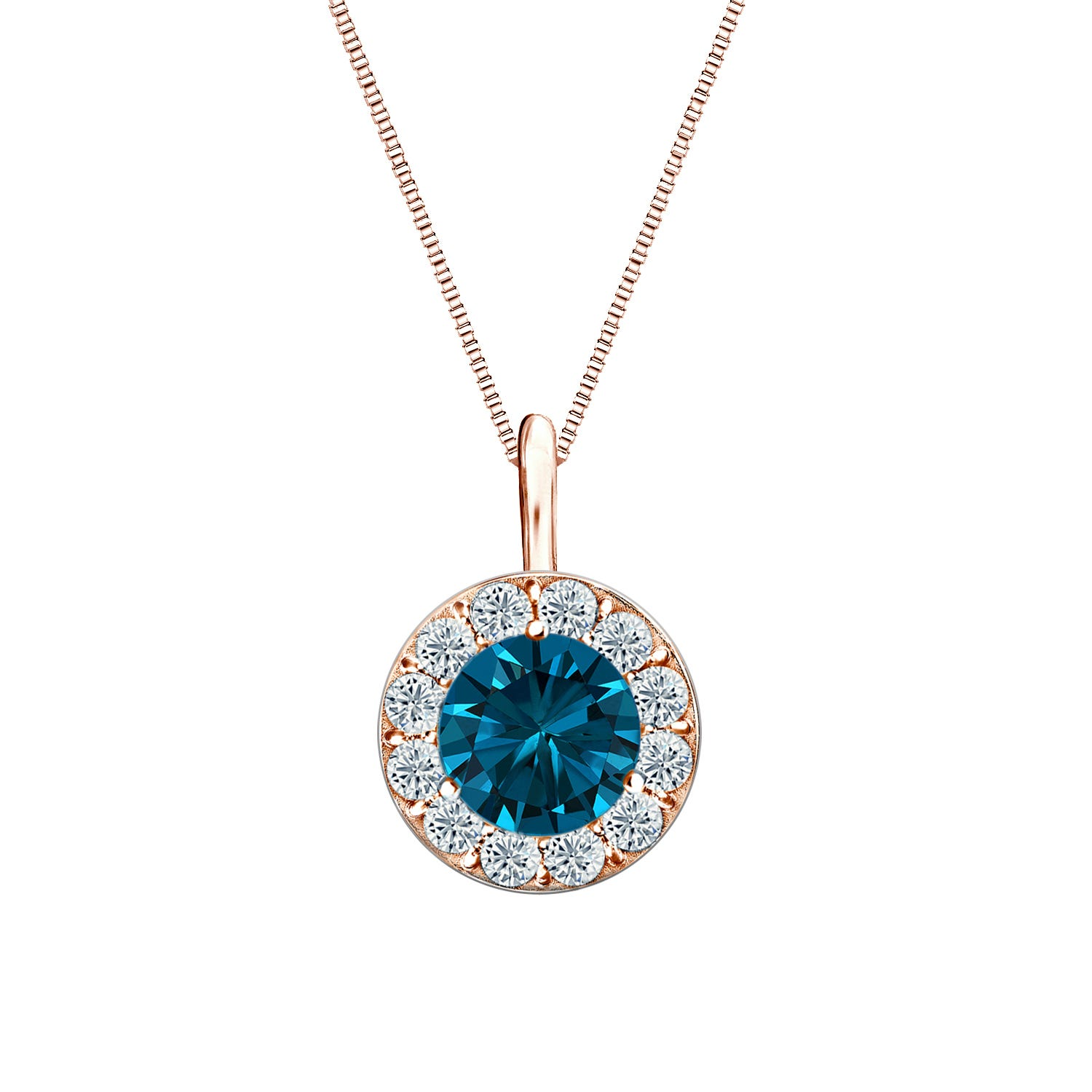 Blue & White Diamond Halo 1ct. Pendant in 14k Rose Gold