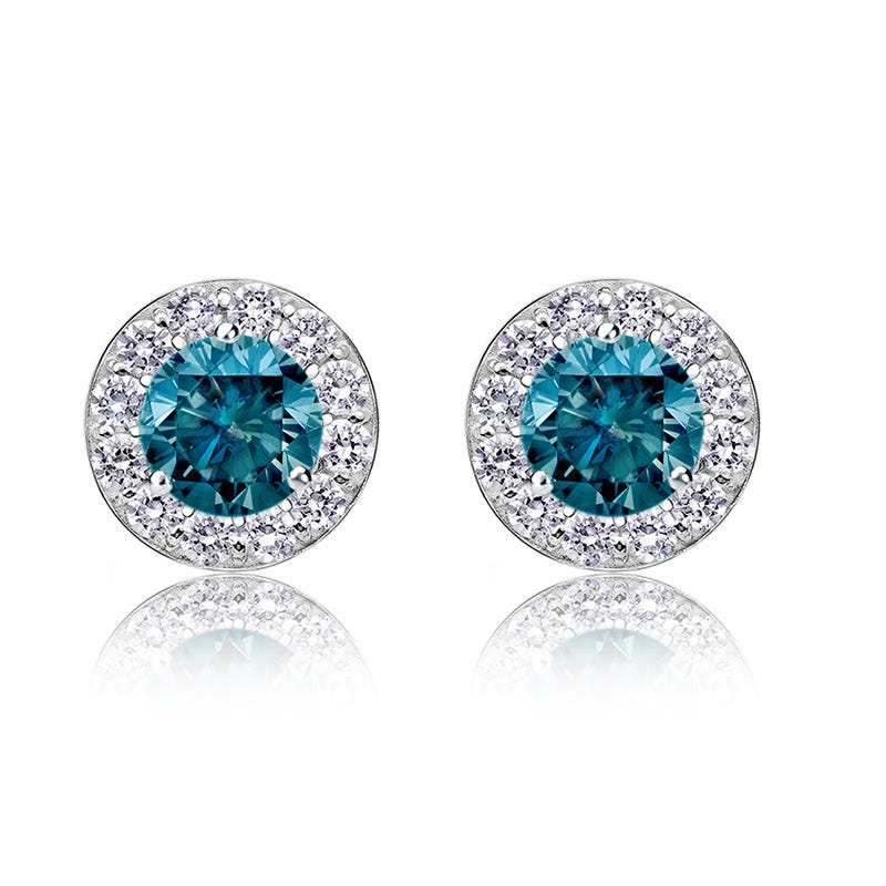 Blue Diamond 2ct. t.w. Halo Stud Earrings in 14k White Gold