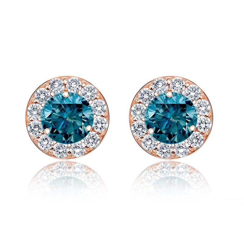 Blue 2ct. t.w. Diamond Halo Stud Earrings in 14k Rose Gold