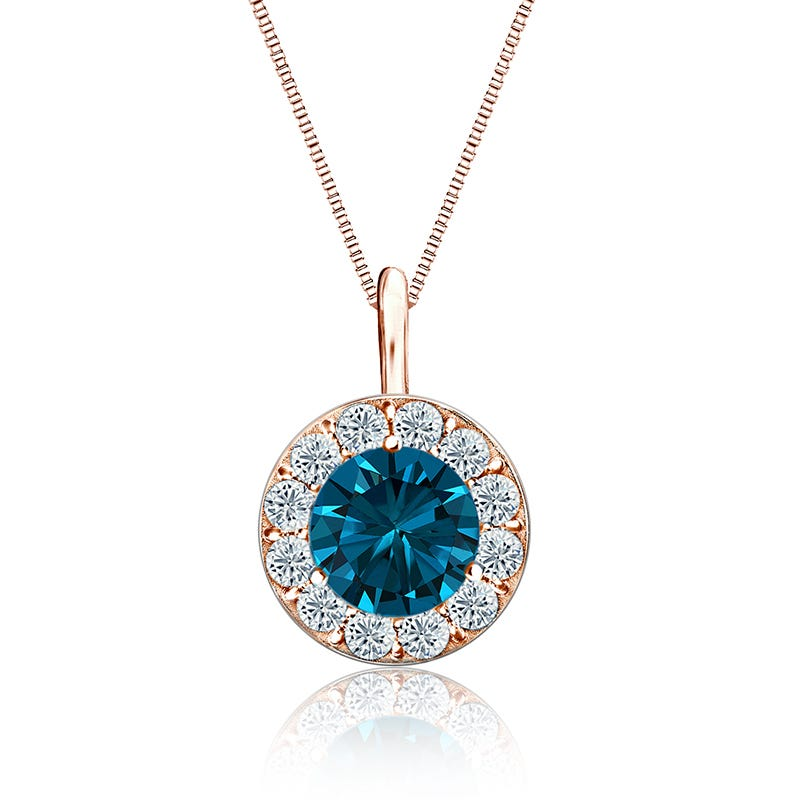 Blue & White 1½ct. t.w. Diamond Halo Pendant in 14k Rose Gold