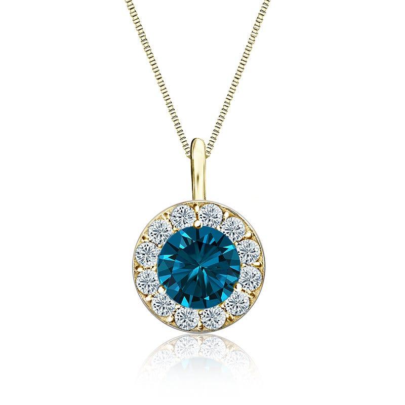 Blue & White 1½ ct. t.w. Diamond Halo Pendant in 14k Yellow Gold