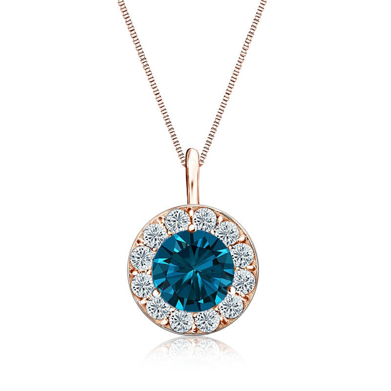 Blue & White Diamond Halo 2ct. Pendant in 14k Rose Gold