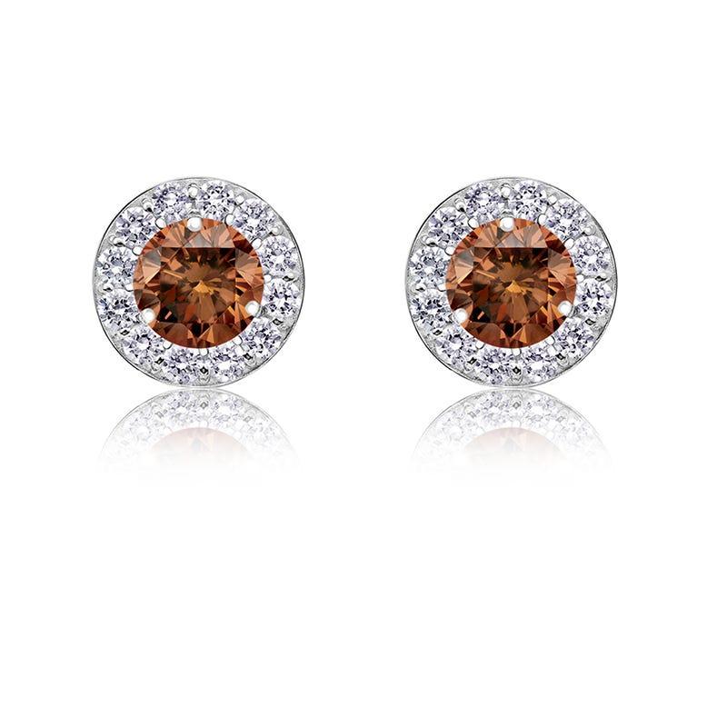 Champagne ¼ ct. t.w. Diamond Halo Stud Earrings in 14k White Gold