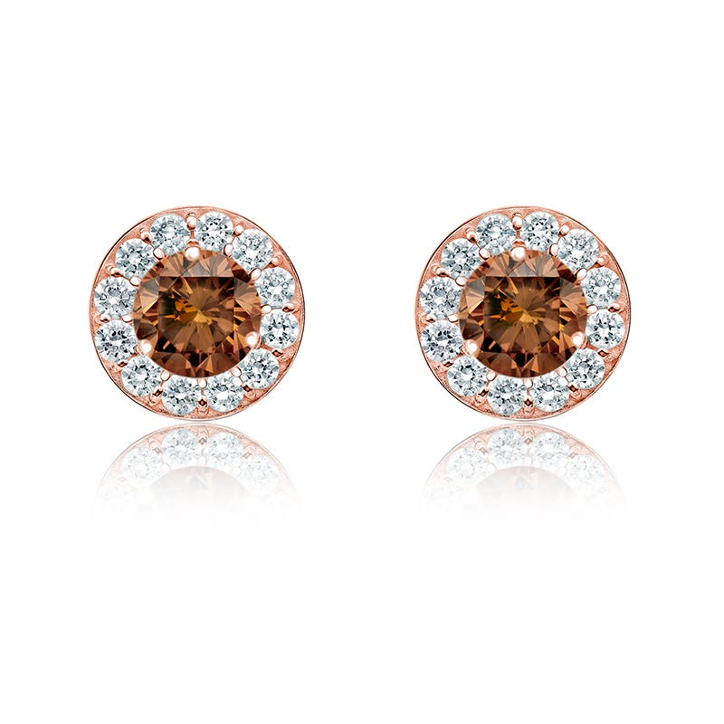 Champagne ¼ ct. t.w. Diamond Halo Stud Earrings in 14k Rose Gold