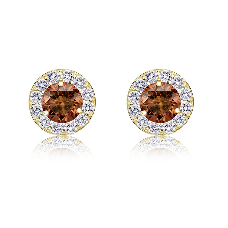 Champagne & White ½ct. Diamond Halo Stud Earrings in 14k Yellow Gold
