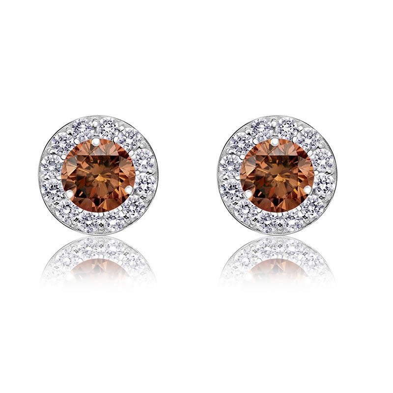 Champagne Diamond 1ct. t.w. Halo Stud Earrings in 14k White Gold