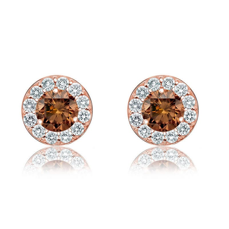 Champagne 1½ct. Diamond Halo Stud Earrings in 14k Rose Gold