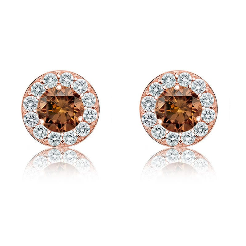 Champagne 2ct. Diamond Halo Stud Earrings in 14k Rose Gold
