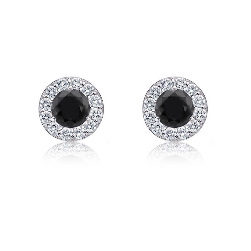 Black Diamond 1/4ct. t.w. Halo Stud Earrings in 14k White Gold