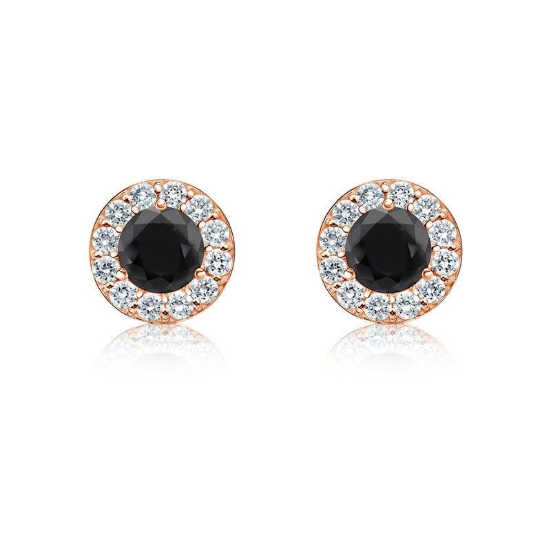 Black Diamond 1/4ct. t.w. Halo Stud Earrings in 14k Rose Gold