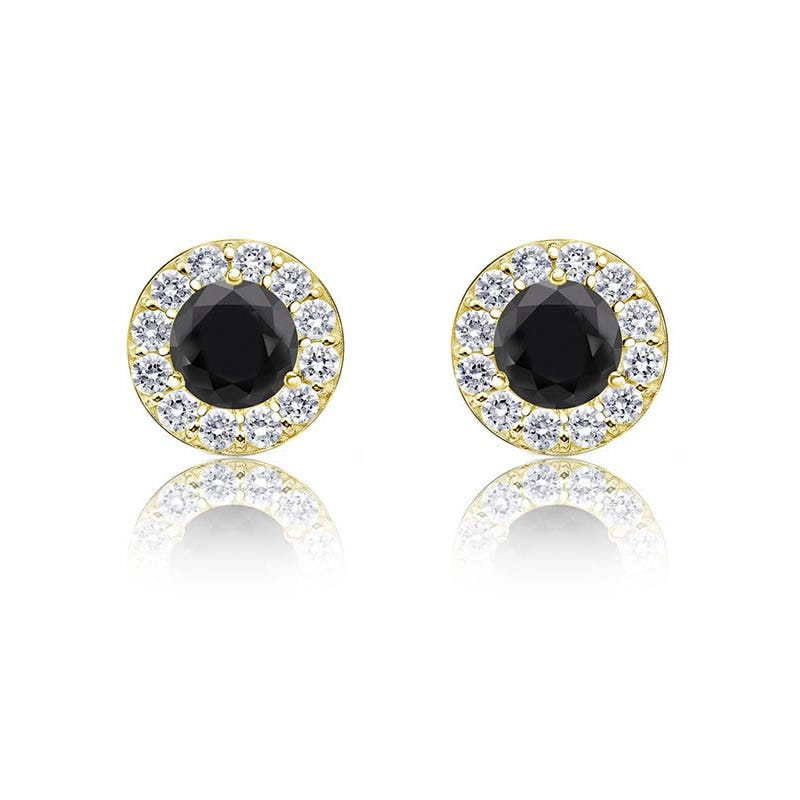 Black Diamond 1/4ct. Halo Stud Earrings in 14k Yellow Gold