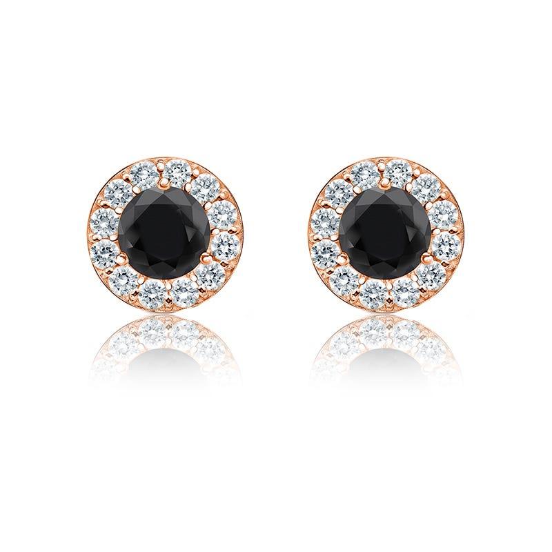 Black & White ½ct. Diamond Halo Stud Earrings in 14k Rose Gold