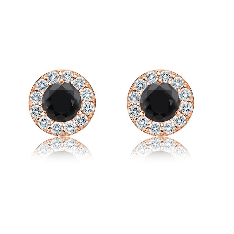Black & White ¾ct. Diamond Halo Stud Earrings in 14k Rose Gold