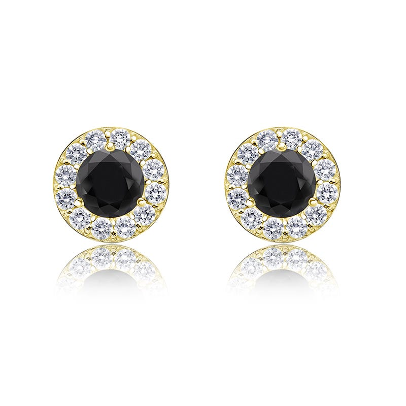 Black & White 3/4ct. Diamond Halo Stud Earrings in 14k Yellow Gold