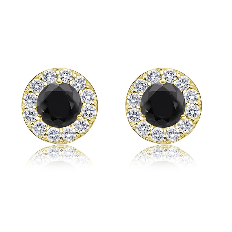 Black & White 1ct. Diamond Halo Stud Earrings in 14k Yellow Gold