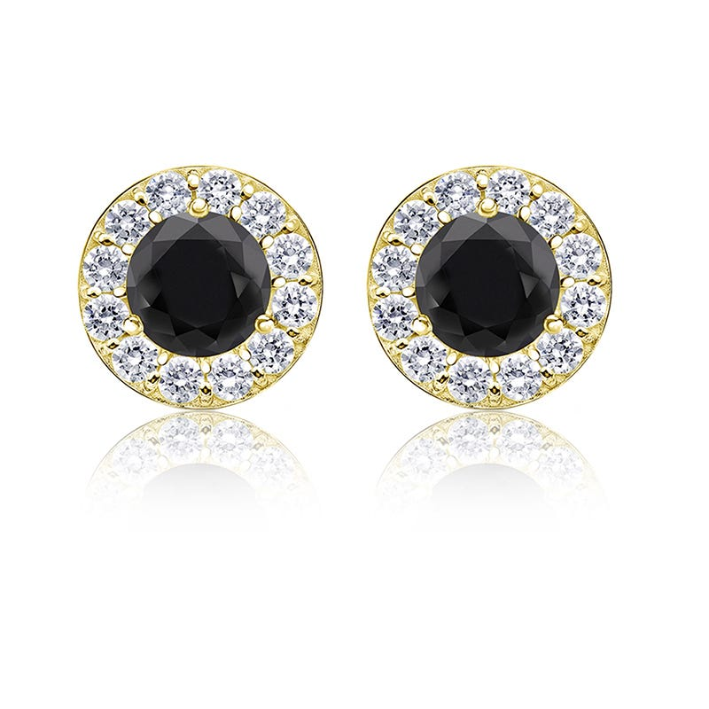 Black Diamond 1½ ct. t.w. Halo Stud Earrings in 14k Yellow Gold