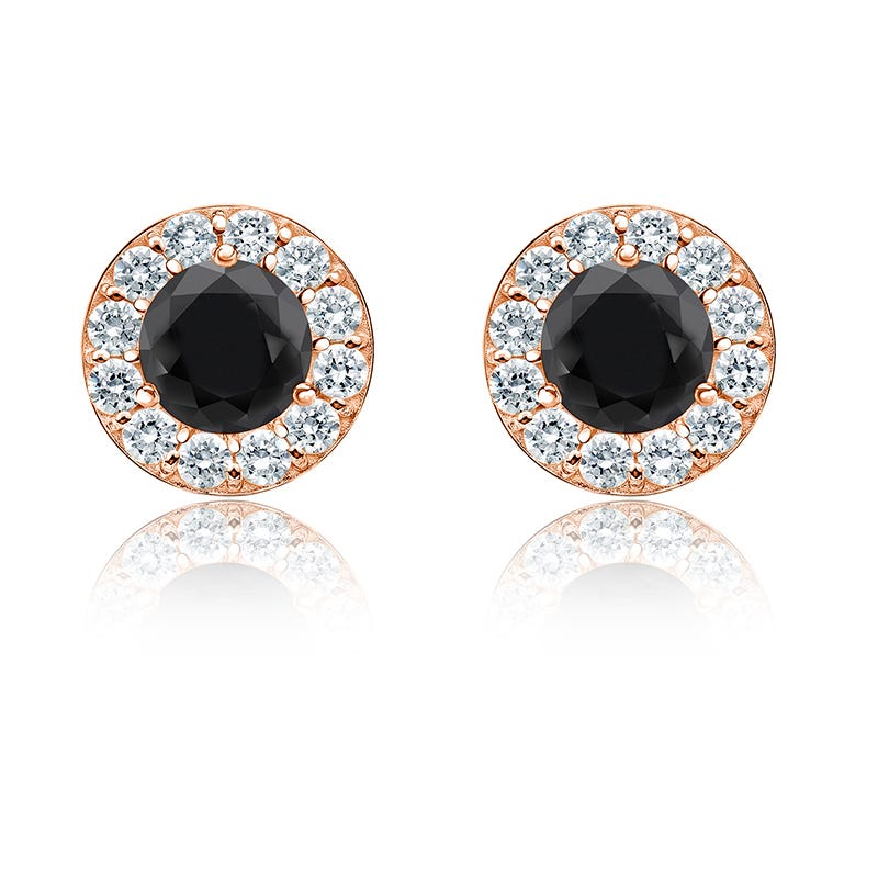 Black Diamond 2ct. t.w. Halo Stud Earrings in 14k Rose Gold