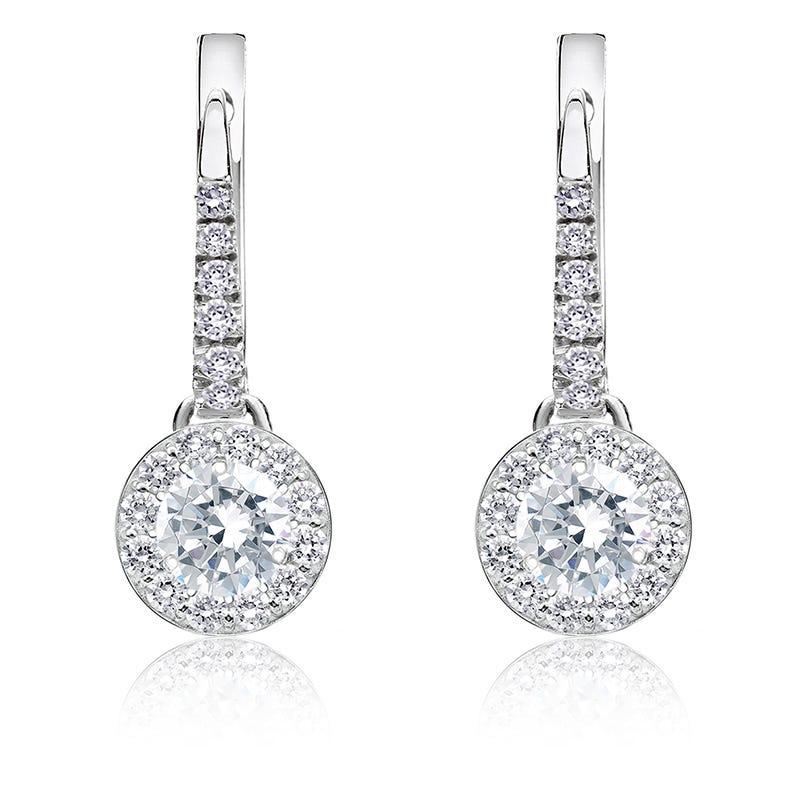 Diamond ½ct. t.w. Halo Dangle Earrings in 14k White Gold