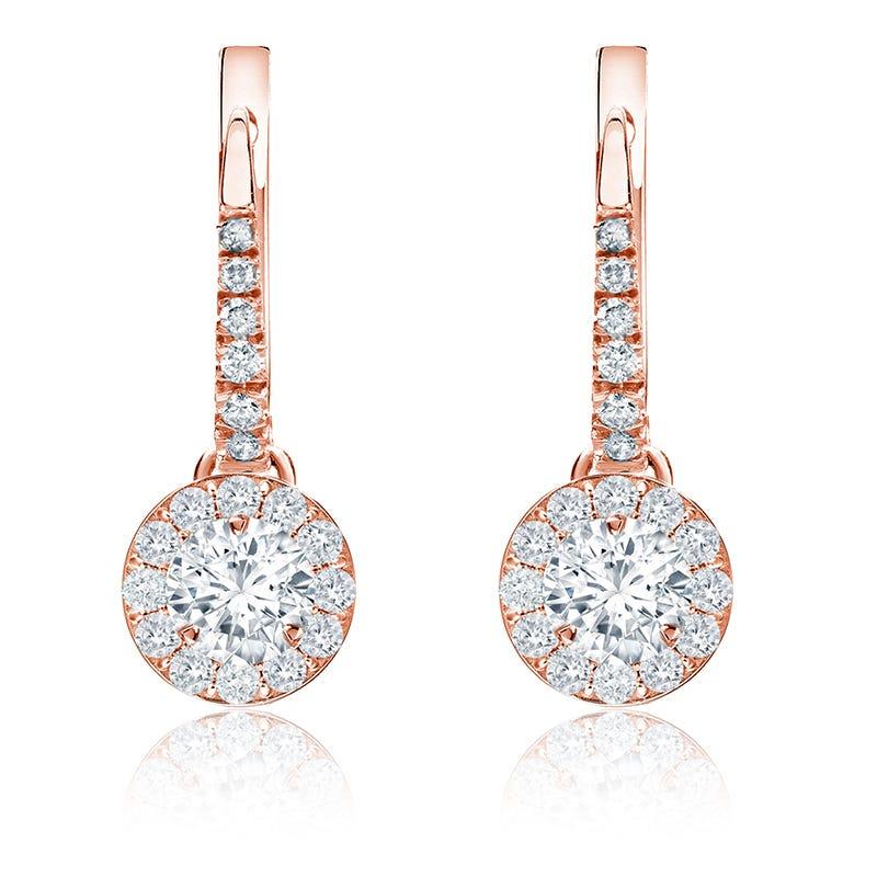 Brilliant-Cut ½ct. Diamond Halo Dangle Earrings in 14k Rose Gold