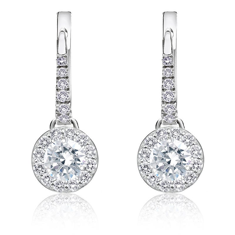 Brilliant-Cut ¾ct. Diamond Halo Dangle Earrings in 14k White Gold