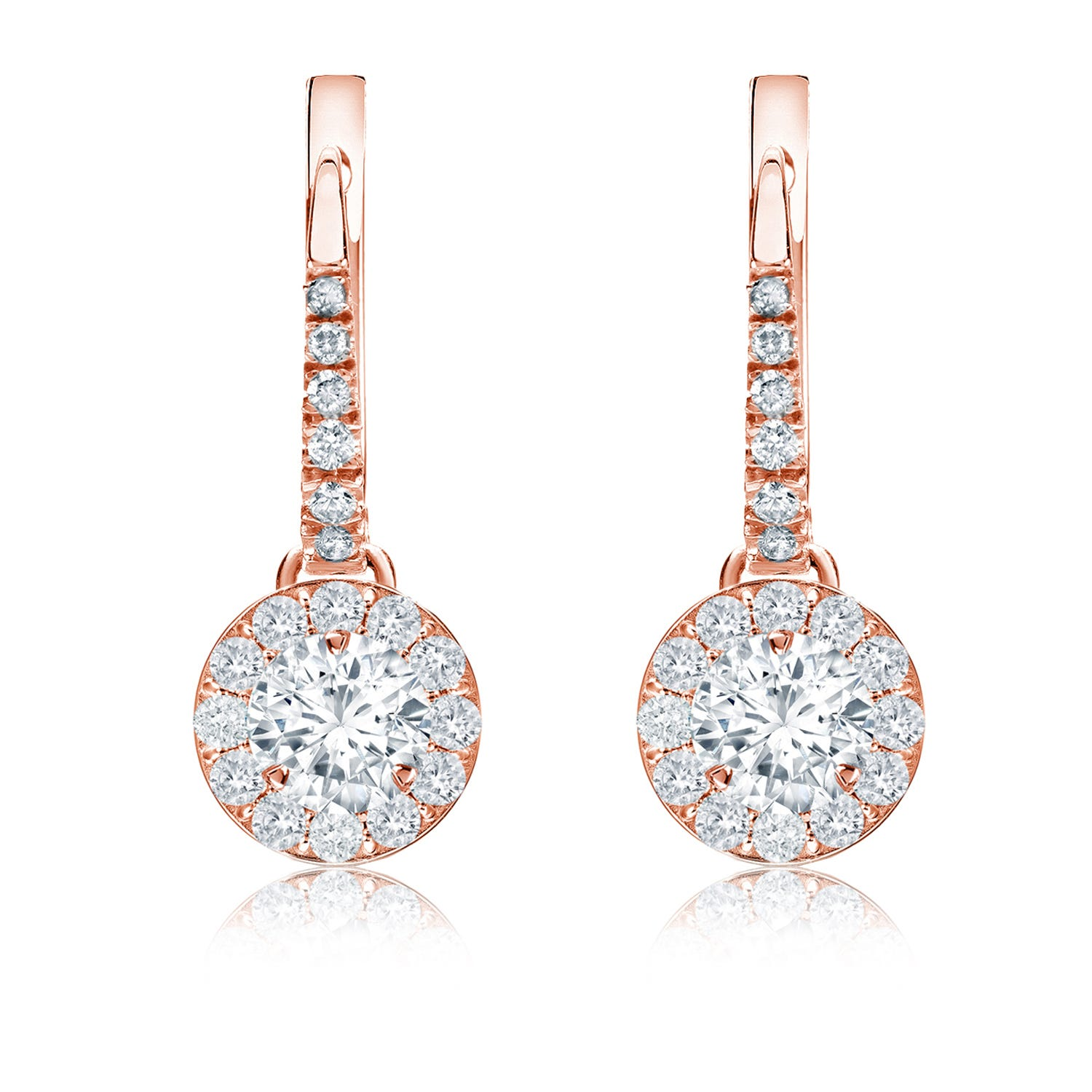 Diamond Halo ¾ct. t.w. Dangle Earrings in 14k Rose Gold