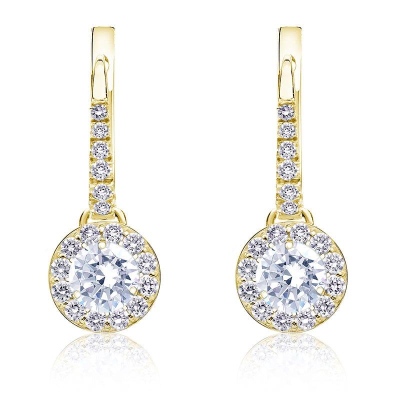 Diamond Halo ¾ct. t.w. Dangle Earrings in 14k Yellow Gold