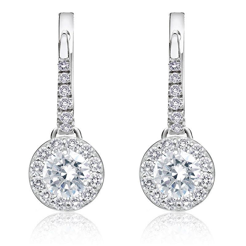 Diamond 1ct. t.w. Halo Dangle Earrings in 14k White Gold