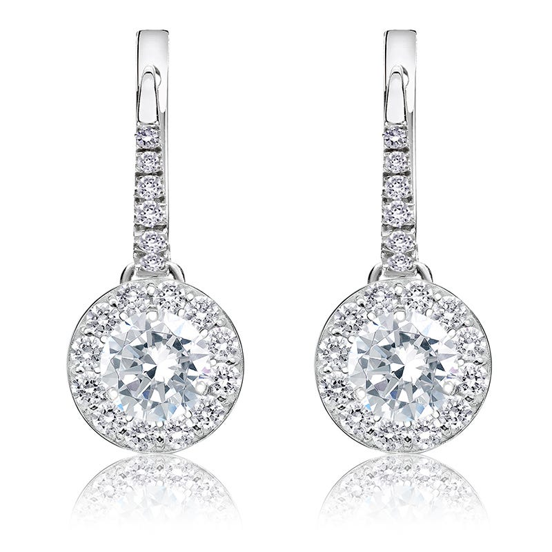 Drop 1½ct. Diamond Halo Earrings in 14k White Gold