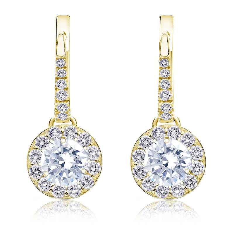 Drop 1½ct. Diamond Halo Earrings in 14k Yellow Gold