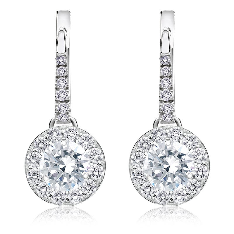 Drop 2ct. Diamond Halo Earrings in 14k White Gold