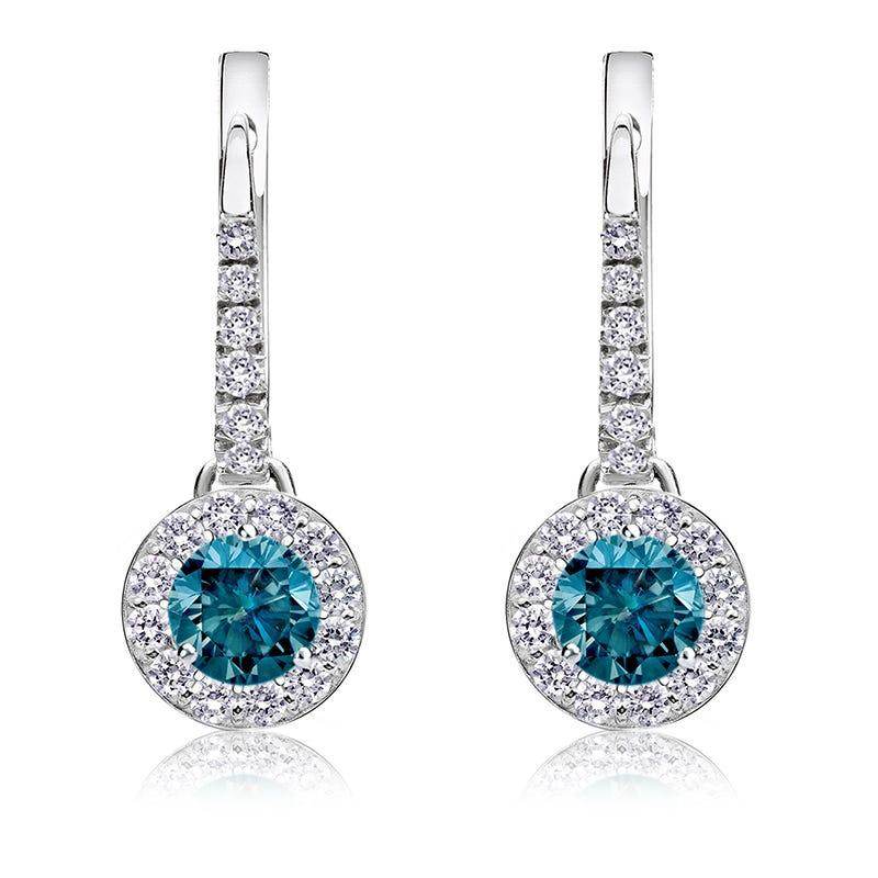 Drop ½ct. Blue Diamond Halo Earrings in 14k White Gold