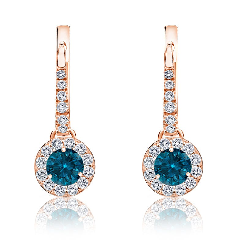 Drop ½ct. Blue Diamond Halo Earrings in 14k Rose Gold