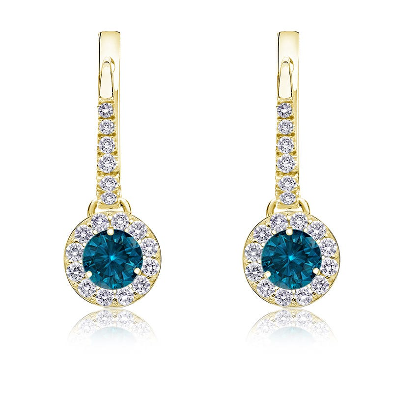 Drop ½ct. Blue Diamond Halo Earrings in 14k Yellow Gold