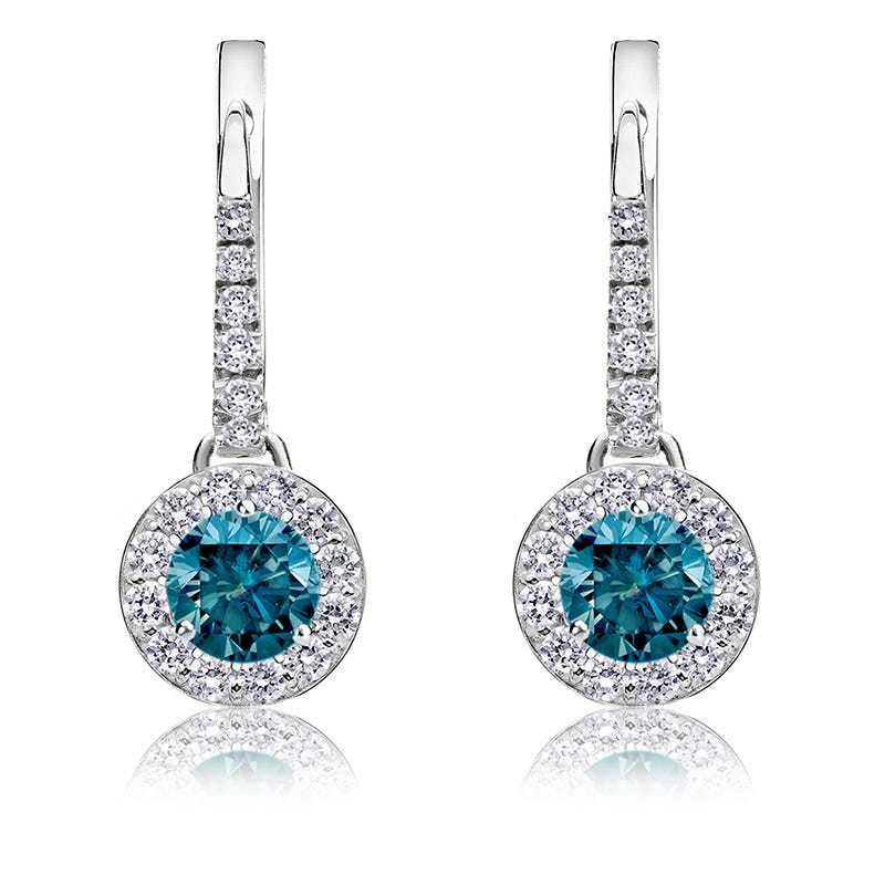 Drop ¾ct. Blue Diamond Halo Earrings in 14k White Gold