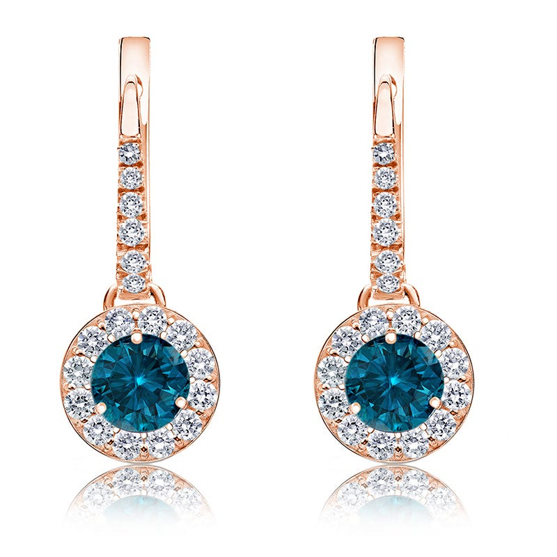 Drop 1ct. Blue Diamond Halo Earrings in 14k Rose Gold