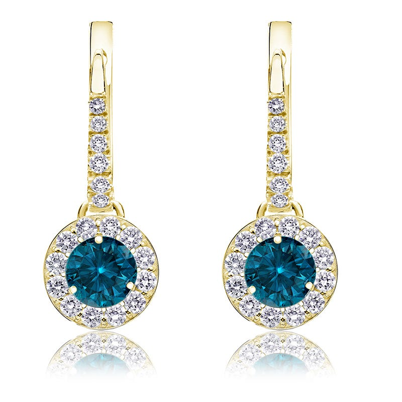 Drop 1ct. Blue Diamond Halo Earrings in 14k Yellow Gold