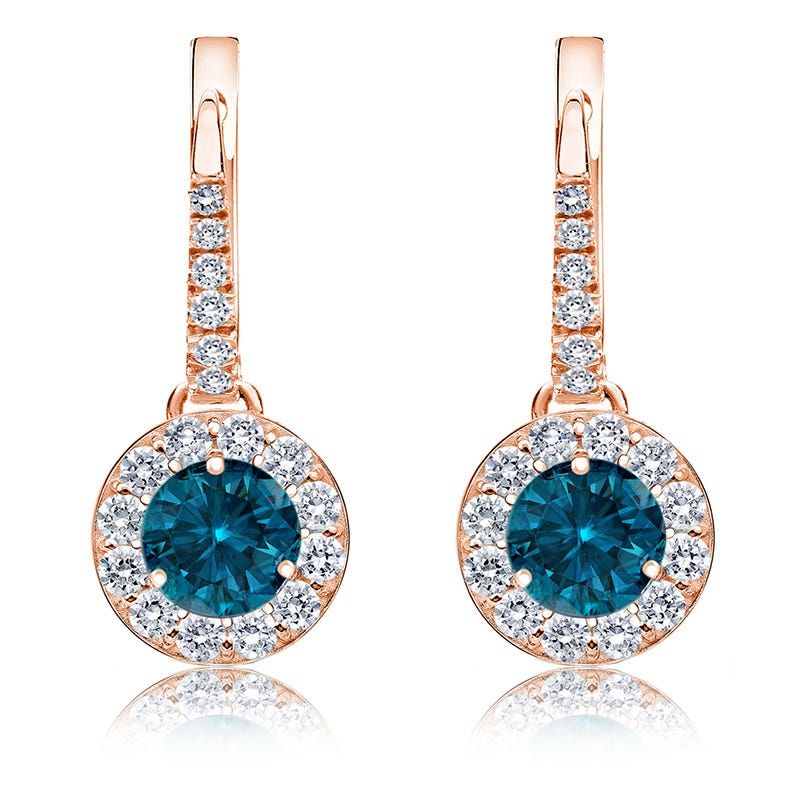 Drop 1½ct. Blue Diamond Halo Earrings in 14k Rose Gold