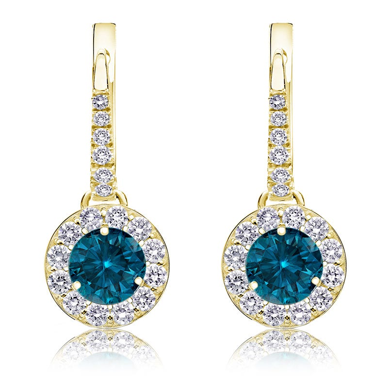 Drop 1½ct. Blue Diamond Halo Earrings in 14k Yellow Gold