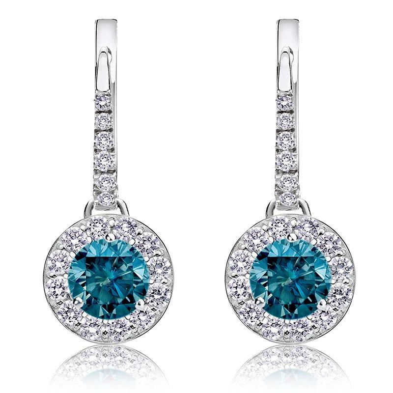 Drop 2ct. Blue Diamond Halo Earrings in 14k White Gold