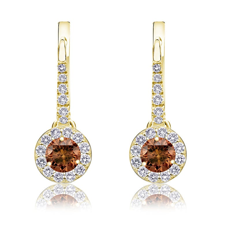 Champagne ½ct. Drop Diamond Halo Earrings in 14k Yellow Gold