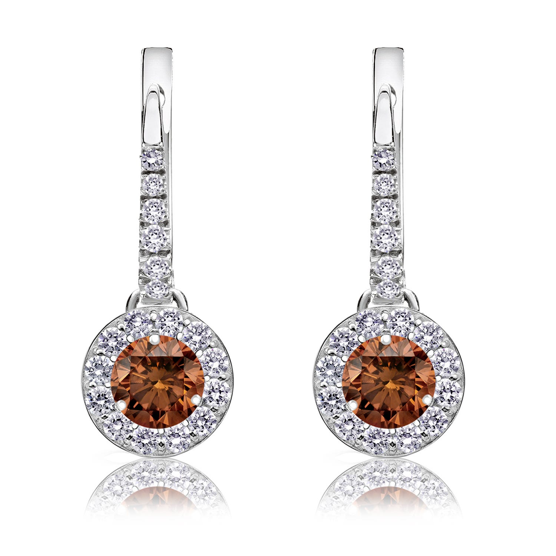 Champagne ¾ct. Drop Diamond Halo Earrings in 14k White Gold