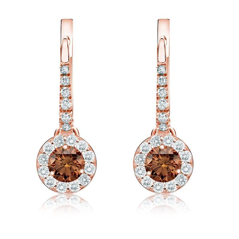Champagne ¾ct. Drop Diamond Halo Earrings in 14k Rose Gold