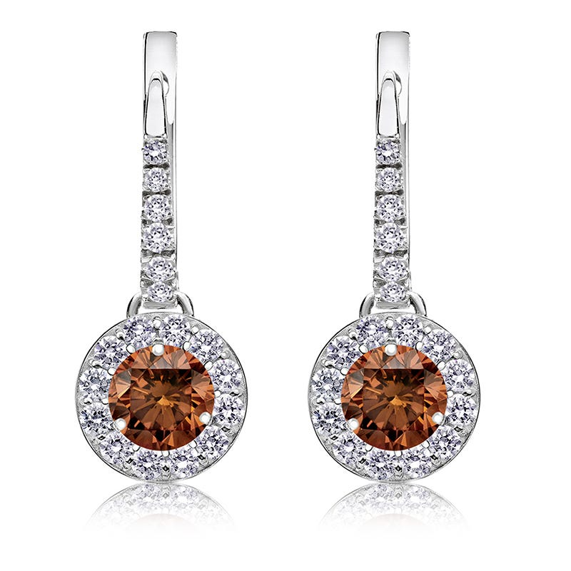 Champagne 1ct. Drop Diamond Halo Earrings in 14k White Gold