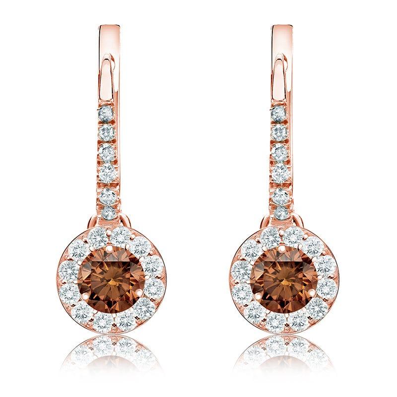 Champagne 1ct. Drop Diamond Halo Earrings in 14k Rose Gold