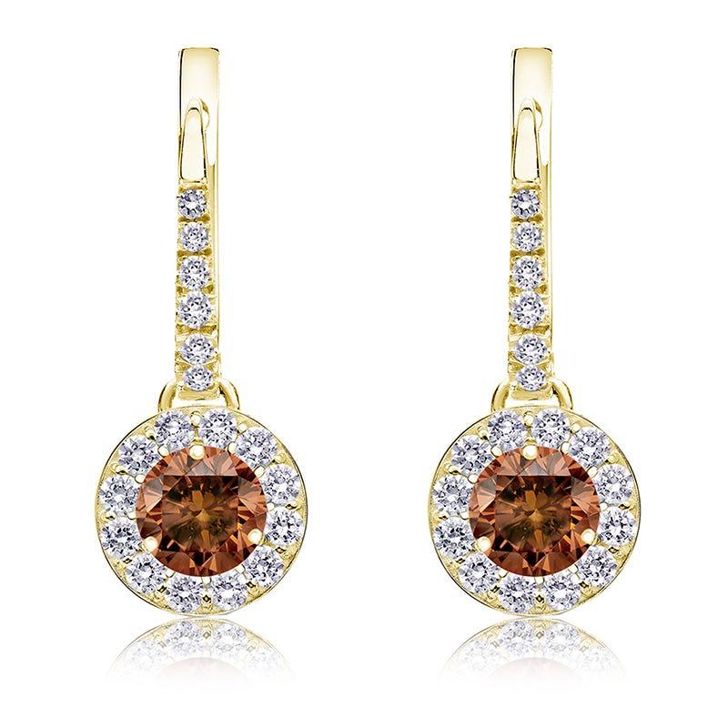 Champagne 1ct. Drop Diamond Halo Earrings in 14k Yellow Gold