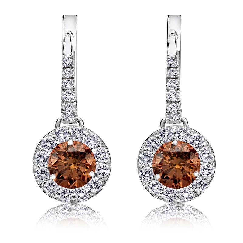 Champagne 1½ct. Drop Diamond Halo Earrings in 14k White Gold