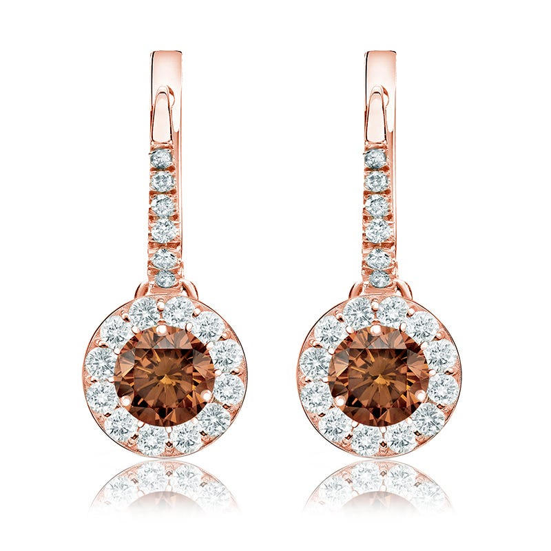 Champagne 1½ct. Drop Diamond Halo Earrings in 14k Rose Gold